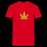 T-Shirts ~ Männer T-Shirt ~ Streifen-Hanfblatt (grün, gelb) Schweres Shirt