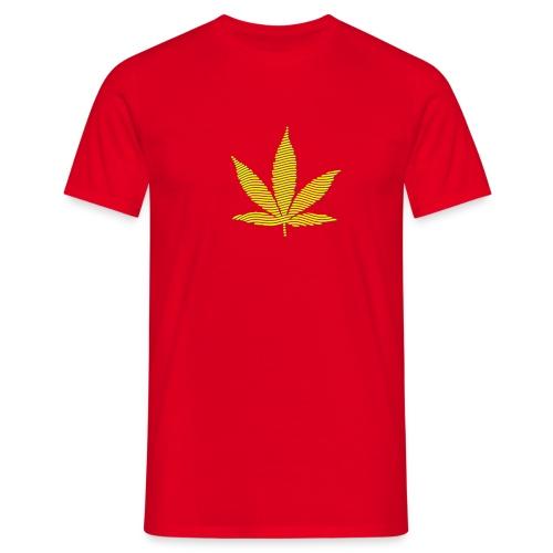 Streifen-Hanfblatt (grün, gelb) Schweres Shirt - Männer T-Shirt