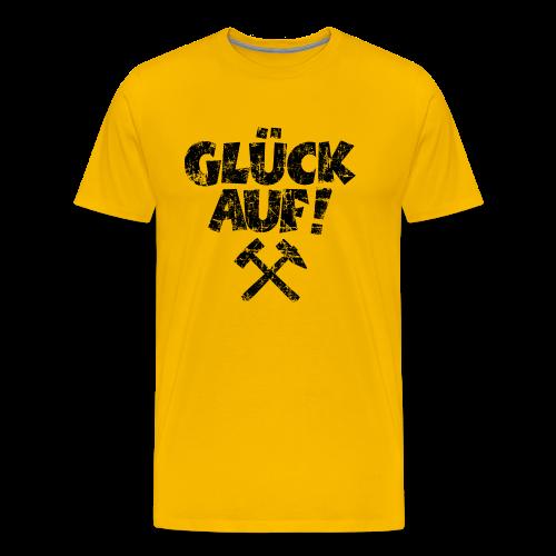 Glück Auf Ruhrpott T-Shirt (Distressed Schwarz) - Männer Premium T-Shirt