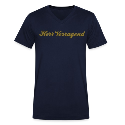 Herr Vorragend, gold-metallic - Männer Bio-T-Shirt mit V-Ausschnitt von Stanley & Stella
