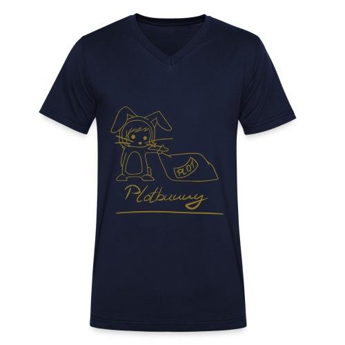 Motiv: Plotbunny 1 | Druck: metallic-gold | verschiedene Farben - Männer Bio-T-Shirt mit V-Ausschnitt von Stanley & Stella