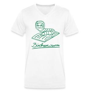 Motiv: Bücherwurm | Druck: grün | verschiedene Farben - Männer Bio-T-Shirt mit V-Ausschnitt von Stanley & Stella