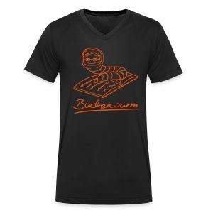 Motiv: Bücherwurm | Druck: orange | verschiedene Farben - Männer Bio-T-Shirt mit V-Ausschnitt von Stanley & Stella