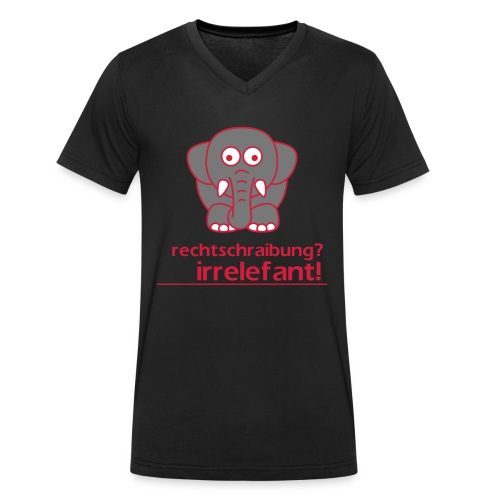 Motiv: Irrelefant (klassisch) | Druck: rot/grau/weiß | verschiedene Farben - Männer Bio-T-Shirt mit V-Ausschnitt von Stanley & Stella