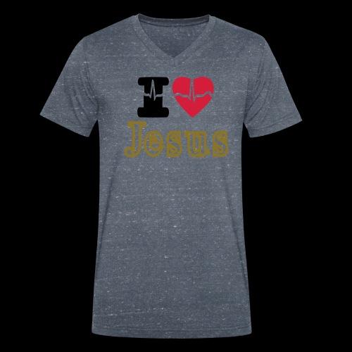 I LOVE Jesus - Men's Organic V-Neck T-Shirt by Stanley & Stella
