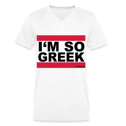I'm so greek weiß - Männer Bio-T-Shirt mit V-Ausschnitt von Stanley & Stella