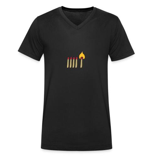 Streichholz Matchsticks Feuer Fire brennen burning - Männer Bio-T-Shirt mit V-Ausschnitt von Stanley & Stella