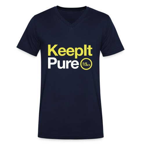 Keep It Pure Yellow /White [Male] - Men's Organic V-Neck T-Shirt by Stanley & Stella
