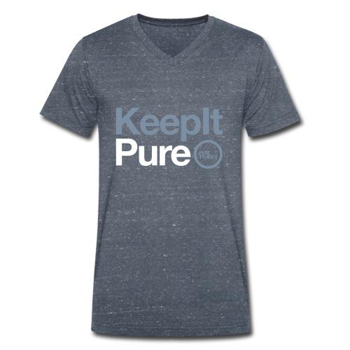 Keep It Pure Silver Metallic /White [Male] - Men's Organic V-Neck T-Shirt by Stanley & Stella