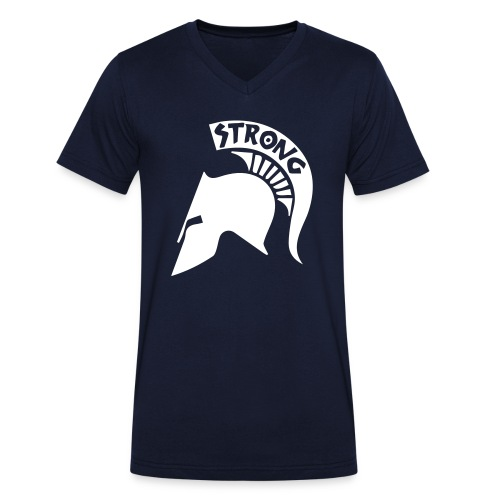 Spartan Helmet - Men's Organic V-Neck T-Shirt by Stanley & Stella
