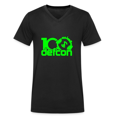 Defcon 100 v-neck neon green logo - Men's Organic V-Neck T-Shirt by Stanley & Stella