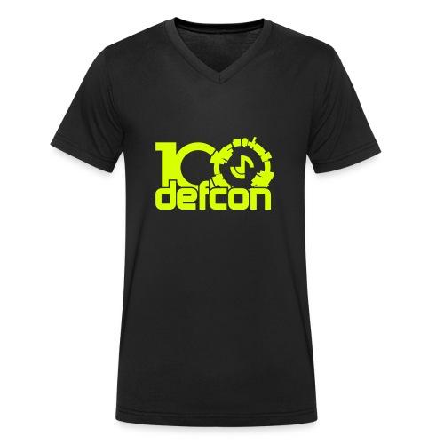 Defcon 100 v-neck neon yellow logo - Men's Organic V-Neck T-Shirt by Stanley & Stella