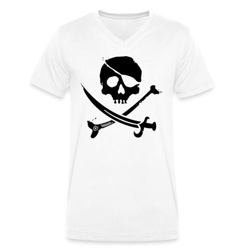 Pirate Crew - Men's V-neck (Black print) - Mannen bio T-shirt met V-hals van Stanley & Stella