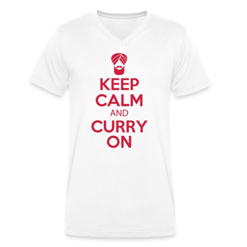 Keep Calm and curry on - Men's Organic V-Neck T-Shirt by Stanley & Stella