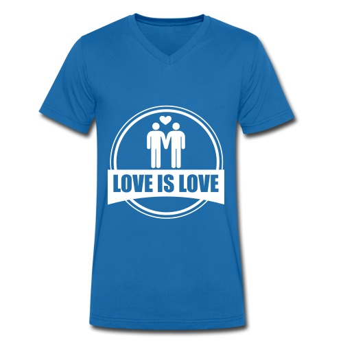 T-SHIRT LOVE IS LOVE GAY - T-shirt bio col V Stanley & Stella Homme