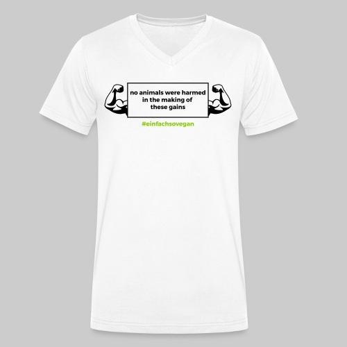 """V-Hals-Shirt """"No animals were harmed"""", weiß - Männer Bio-T-Shirt mit V-Ausschnitt von Stanley & Stella"""