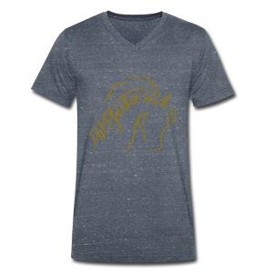 Proud Horses, Men V Neck Shirt ( Print: Gold) - Männer Bio-T-Shirt mit V-Ausschnitt von Stanley & Stella