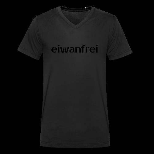 """Männer Shirt """"eiwanfrei Bläck Kolläktschn"""" - schwarz auf schwarz - Männer Bio-T-Shirt mit V-Ausschnitt von Stanley & Stella"""
