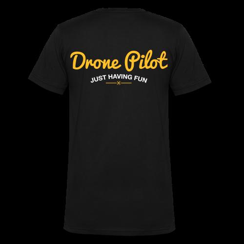 T-shirt V: Drone Pilot Just Having Fun (men) | Black - Mannen bio T-shirt met V-hals van Stanley & Stella