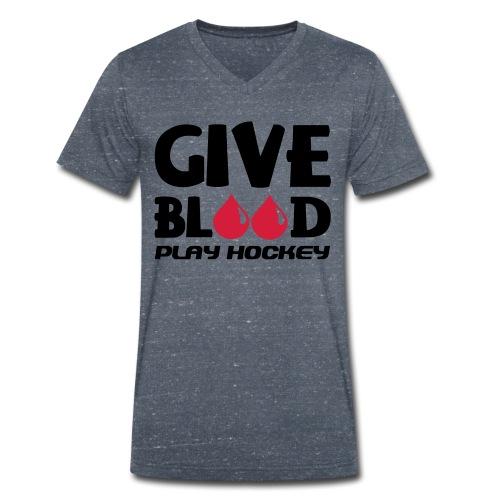 Give Blood Play Hockey Men's V-Neck T-Shirt - Men's Organic V-Neck T-Shirt by Stanley & Stella