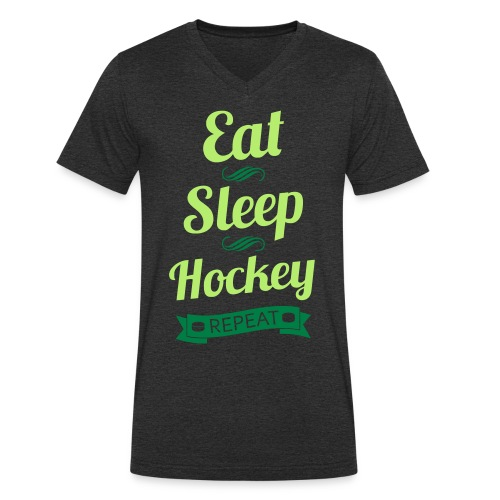 Eat, Sleep, Hockey, Repeat Men's V-Neck T-Shirt - Men's Organic V-Neck T-Shirt by Stanley & Stella