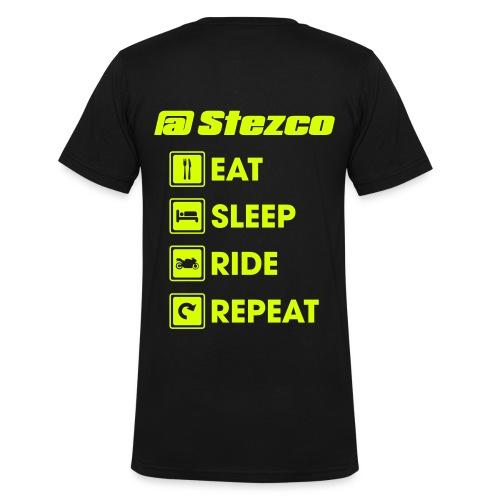 T-shirt V neck eat sleep bike repeat - T-shirt bio col V Stanley & Stella Homme