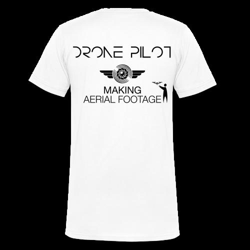T-shirt V: Making Aerial Footage (men)   White - Mannen bio T-shirt met V-hals van Stanley & Stella