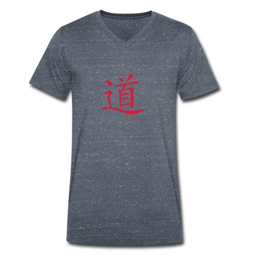 Front DAO- Der Weg, Back: Waliking Together Männer V Neck Shirt ( Print Red) - Männer Bio-T-Shirt mit V-Ausschnitt von Stanley & Stella