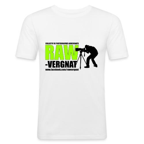 Tee Shirt moulant pour homme Blanc RAWvergnat - T-shirt près du corps Homme