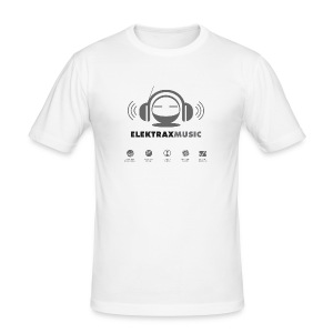 Elektrax Music - Light Grey logo on White - Men's Slim Fit T-Shirt