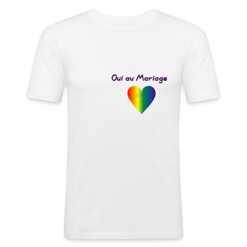 Tee-shirt homme oui au mariage gay avec coeur - T-shirt près du corps Homme