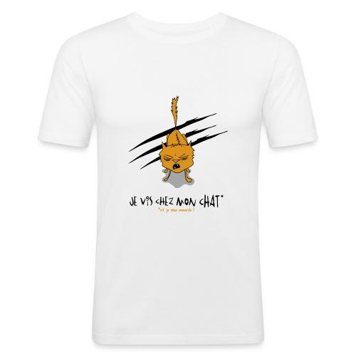 Je vis chez mon chat... - T-shirt près du corps Homme
