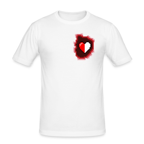 Pixel-Heart White - Herre Slim Fit T-Shirt
