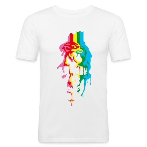 Rainbow Skull white - Männer Slim Fit T-Shirt