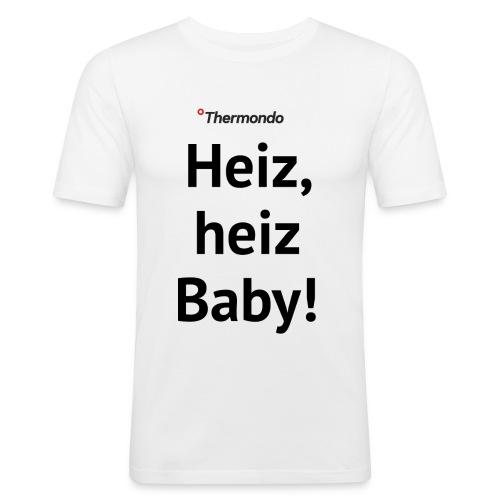 Herren T-Shirt Slim Fit weiß Heiz Baby - Männer Slim Fit T-Shirt