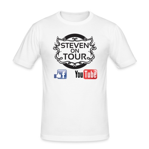 Steven on Tour T-Shirt Männer Slim weiß, Logo schwarz vorne - Männer Slim Fit T-Shirt