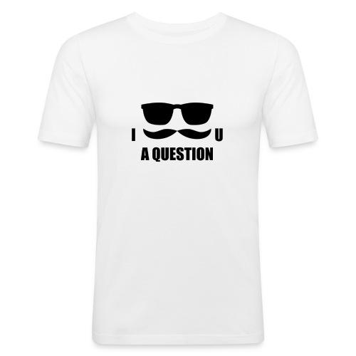 Men's Slim Fit T-Shirt - t-shirt,shades,question,glasses,Moustache