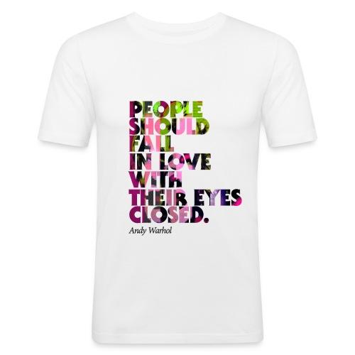 "Herren kurzarm T-Shirt, Rundhals, slim-fit, weiss, graphical Pop-Art, Warhol-Style ""Fall In Love"", Baumwolle - Männer Slim Fit T-Shirt"