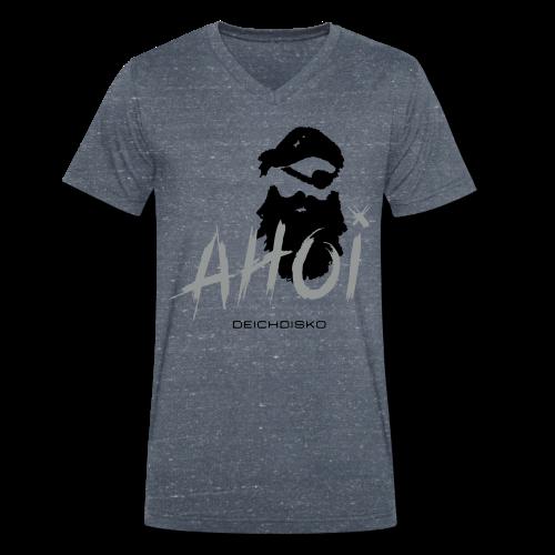 """Deichdisko T-Shirt """"Ahoi Pirat!"""" mit Flockdruck - Männer Bio-T-Shirt mit V-Ausschnitt von Stanley & Stella"""