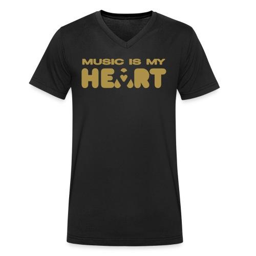 [Music heart] noir - Men's Organic V-Neck T-Shirt by Stanley & Stella