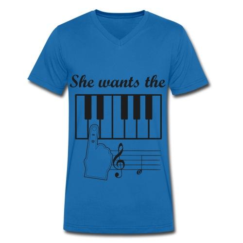 Männer Bio-T-Shirt mit V-Ausschnitt von Stanley & Stella - She wants the D