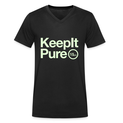 Keep It Pure Glow In The Dark [Male] - Men's Organic V-Neck T-Shirt by Stanley & Stella