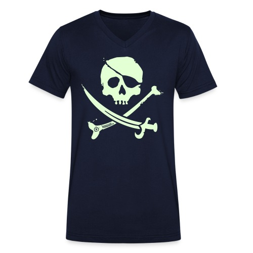 Pirate Crew - Men's V-neck (White print, glows green in the dark) - Mannen bio T-shirt met V-hals van Stanley & Stella