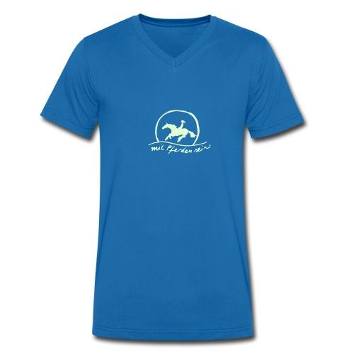 Sunset Rider, Men V Neck Shirt   (Print:White Glowing In The Dark) - Männer Bio-T-Shirt mit V-Ausschnitt von Stanley & Stella