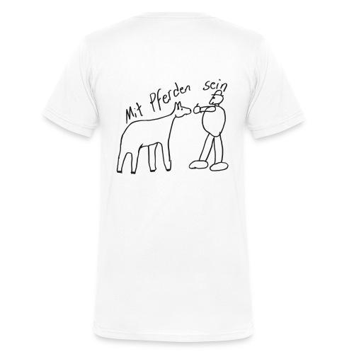 Front LOGO Schritzug, Back Naiv Print, Men Neckshirt  ( Primt Black Glitter) - Männer Bio-T-Shirt mit V-Ausschnitt von Stanley & Stella