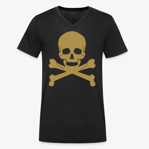 Skull Gold Glitzer - Männer Bio-T-Shirt mit V-Ausschnitt von Stanley & Stella
