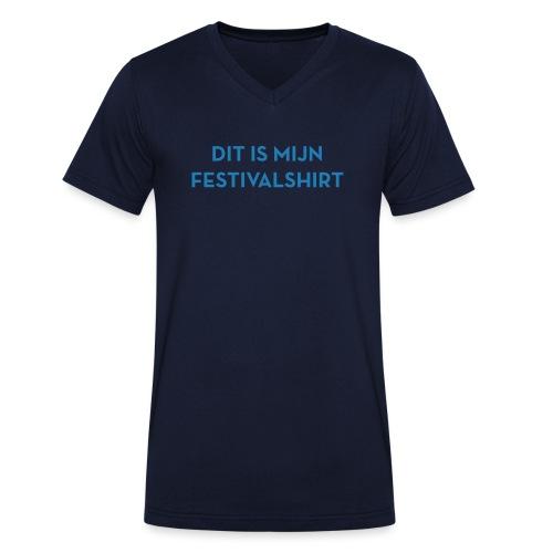 Festivalshirt mannen v-hals blauwglitter bio - Mannen bio T-shirt met V-hals van Stanley & Stella
