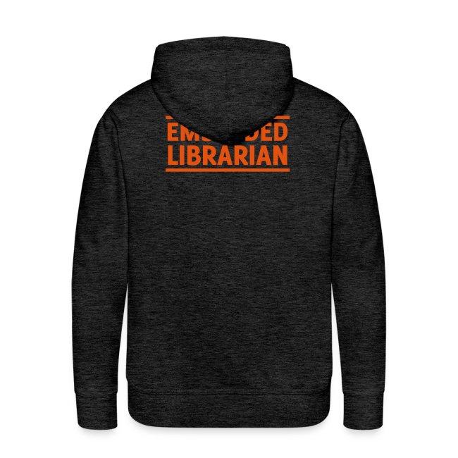 herren-hoodie grau mit orangenem druck
