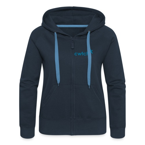 cwtch front zipped hoodie with cwtch me big back print - Women's Premium Hooded Jacket