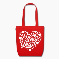 Red i love you heart shaped design Bags